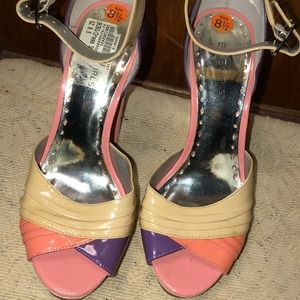 BCBGirls Women's Pink Purple Beige Platform Shoes